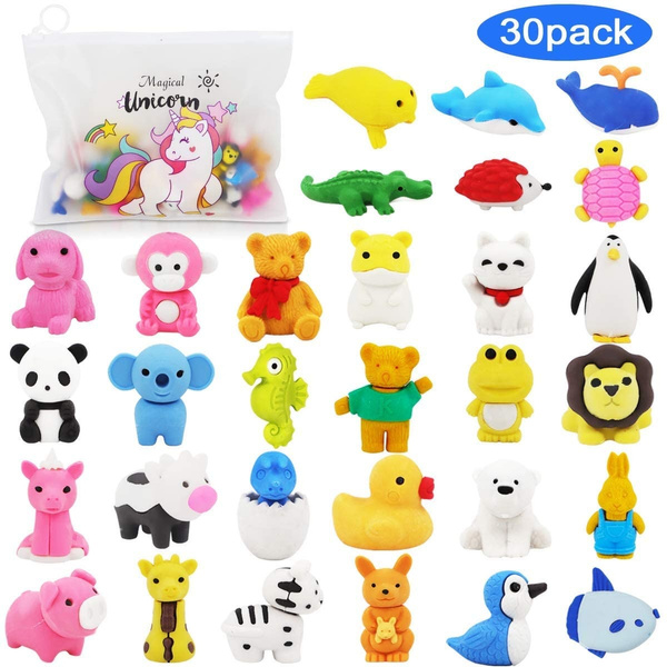 Super Soft Stuffed Animals For Babies, Pencil Erasers Zoo Animal Erasers 30 Pack Puzzle Erasers With Unicorn Pencil Bag Easter Party Favors For Kids Games Prizes Carnivals And School Supplies Easter Gifts For Girls Wish