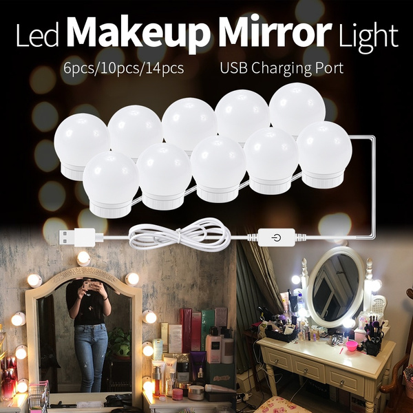 Usb Led 5v Usb Power Vanity Lights Kit Makeup Led Light Bulbs With Dimmable Switch Attached To Bathroom Or Dressing Table Mirrors Wish