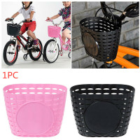 1pc Bicycle Basket Children Bike Plastic Knitted Bow Knot Front Handmade BagDO
