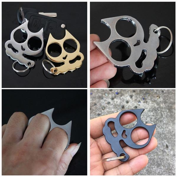 1pcs Self Defense Keychain Cat Ear Two Finger Buckle Window