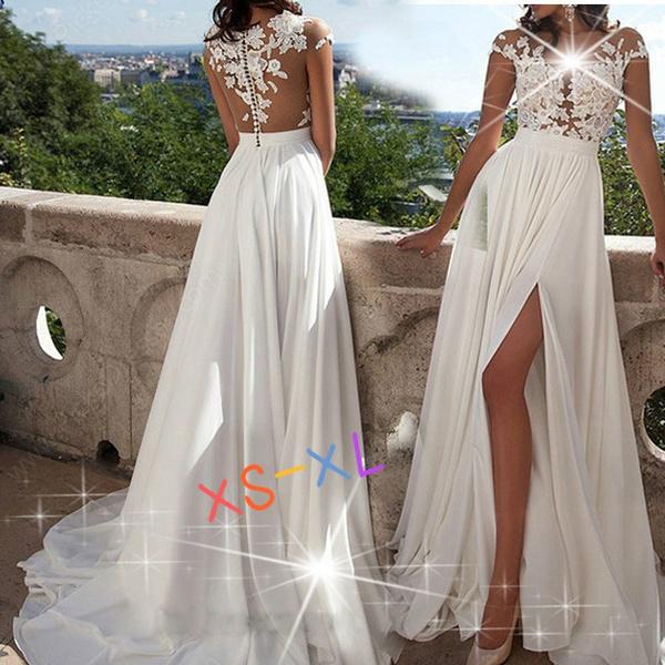 2020 new Womens Fashion Wedding Dress Sexy Lace Bifurcate