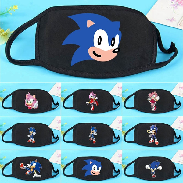 9 Styles Reusable Funny Cute Sonic The Hedgehog 3d Printed Adults Kids Mask Dust Proof Dust Mask Outdoor Half Face Masks Geek