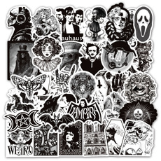 Goth, skullsticker, Laptop, Guitars