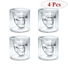 wineglasse, vodka, skullmug, skull