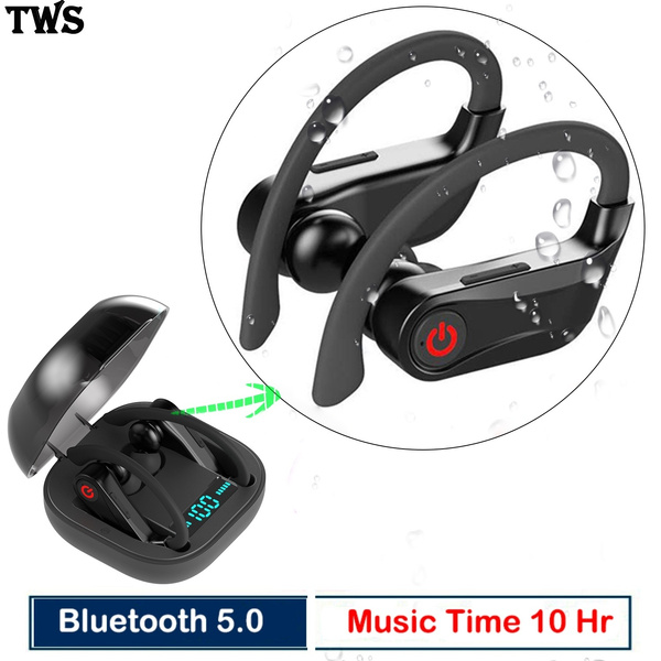 Tws Earphones Bluetooth 5 0 True Wireless Stereo Sport Headphones With Mic Hd Sound With Bass Earbuds Sweatproof Noise Cancelling Headsets With Over Ear Hook For Gym Running Workout Super Easy Pair With Ios