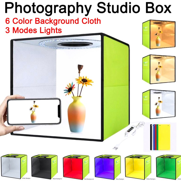 Folding Portable Ring Light Photo Lighting Studio Shooting,Tent Box Kit+6 Colors Backdrops