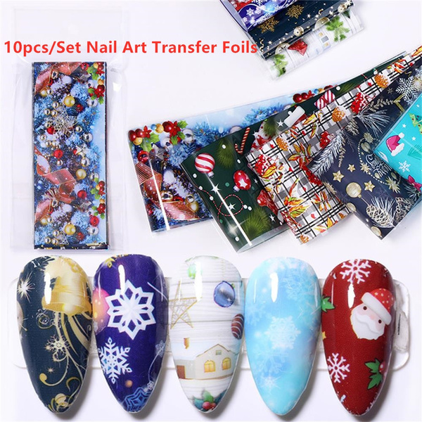 10 Pcs Bag Christmas Manicure Halloween 3d Diy Decor Nail Decal Nail Art Sticker Nail Foil Stickers Christmas Style Wish