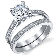 womenssterlingsilversolitairering, Sterling Silver Ring, sterlingsilverbridalset, womensengagementring
