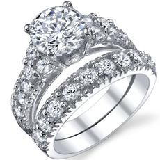 womenssterlingsilversolitairering, Sterling Silver Ring, sterlingsilverbridalset, womenssterlingsilverweddingband