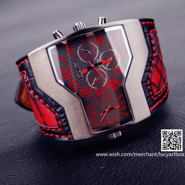 unisex watch, Fashion, redleatherwatch, leather