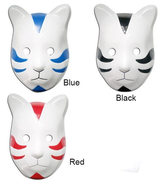 Naruto Shippuuden Anbu Mask Cosplay Red Blue Black Itachi Cat Style Props Wish