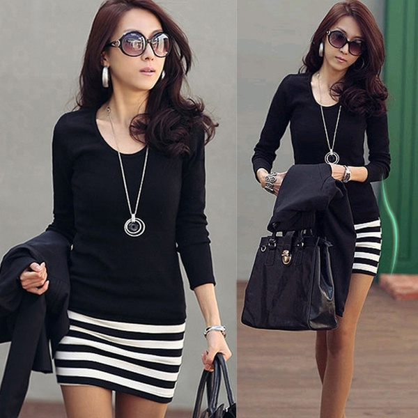 Tees & T-Shirts, korean style, slim, Mini dress
