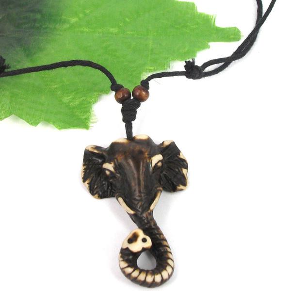 1pcs Ethnic Tribal Yak Bone Carving Elephant Pendant Necklace Wish