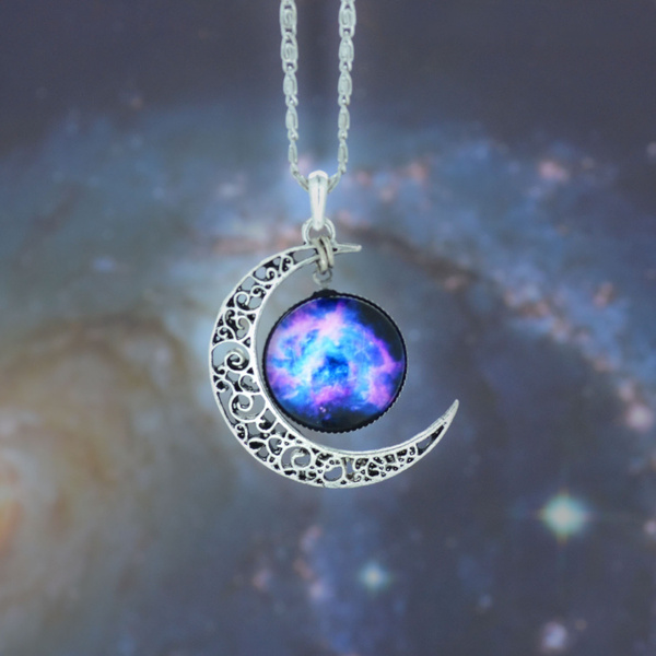 crescentnecklace, moonnecklace, Star, Jewelry