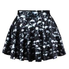 black skirt, Skater Skirt, Fashion, Skeleton