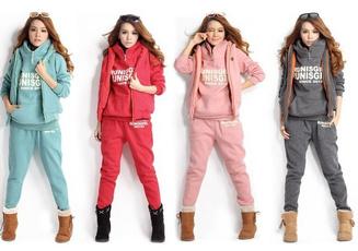 hooded, Zip, Coat, women3pieasescoattopsvestpantstrouserssxxl4color