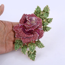 pink, pinkbrooch, pinkenamel, crystalflowerbrooch
