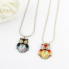 cute, Chain Necklace, longpendantnecklace, lovelyowlnecklace