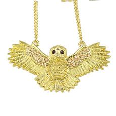 birdnecklace, Fashion, gold, goldowlnecklace