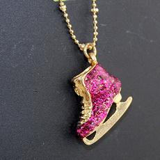 cute, ballchainnecklace, pendantcharmnecklace, vintagered