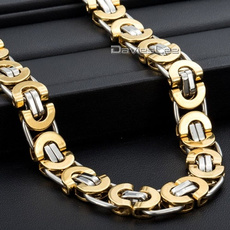 Steel, Chain Necklace, flatnecklace, gold