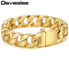 Steel, polished, Chain bracelet, gold