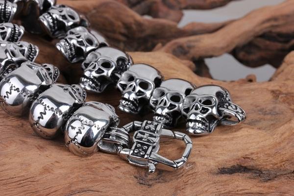 gift for him, skullheadbracelet, Stainless Steel, skullsbracelet