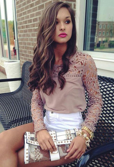 blouse, womens top, Lace, Sleeve