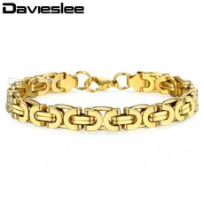 Steel, byzantinebracelet, 8MM, gold bracelet