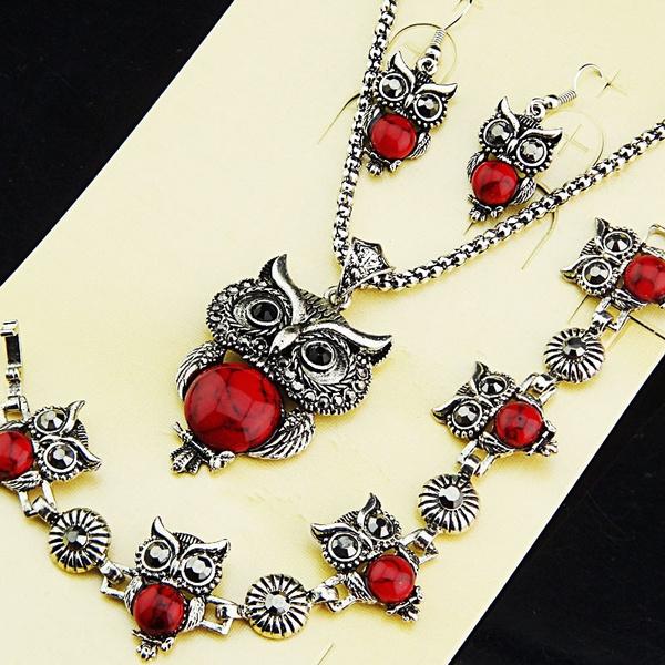 Antique, Owl, Turquoise, Jewelry