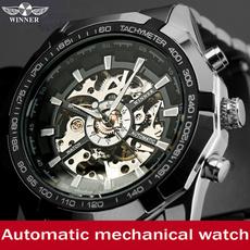 Mens Skeleton Mechanical Watch Stainless Steel
