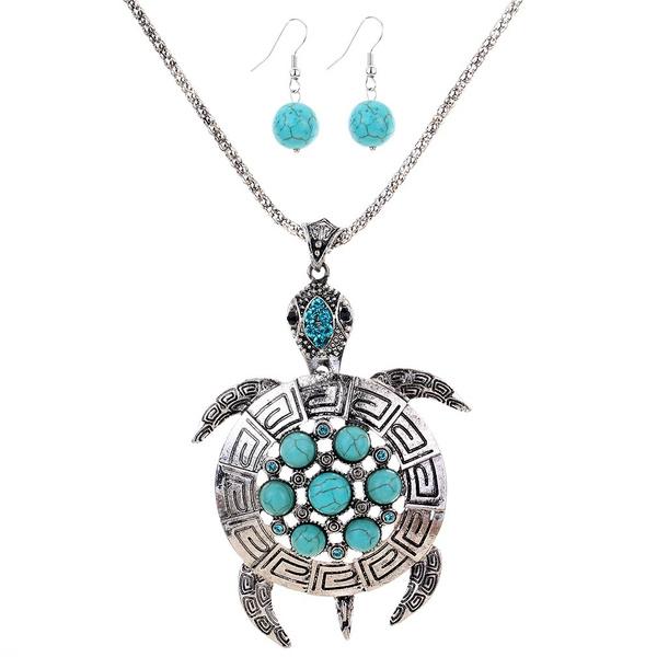 Blues, Turquoise, Flowers, earringsnecklaceset