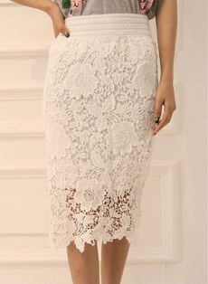 Plus Size, Encaje, Lace Dress, hollowoutskirt