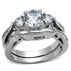 Cubic Zirconia, Steel, Stainless Steel, wedding ring