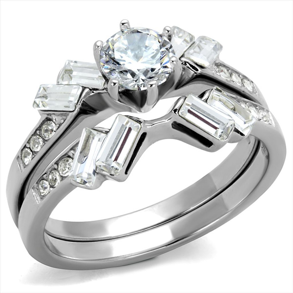 Cubic Zirconia, Steel, wedding ring, Stainless