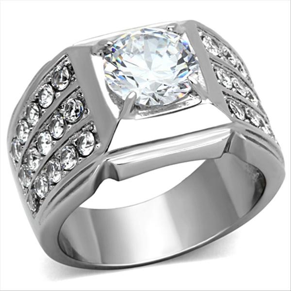 Cubic Zirconia, Steel, DIAMOND, wedding ring