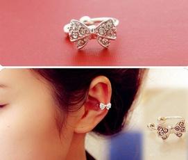 boneclipearring, earringsclip, Jewelry, bowknot
