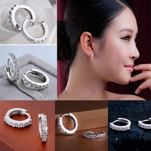Sterling, Hoop Earring, Jewelry, Crystal