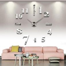 decoration, wallclockromannumeral3dmirrorssurfaceclock, art, Clock