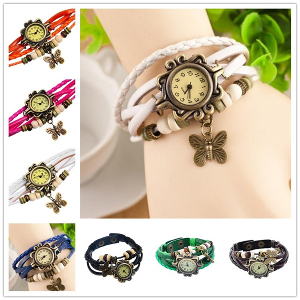 leather Bracelet watch with butterfly