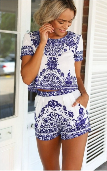 Blues, Summer, Shorts, Floral print