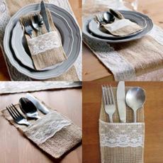 cutlerypocket, burlap, Lace, cutleryholder