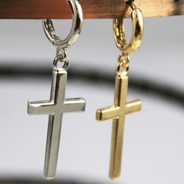 Steel, crossearring, Hoop Earring, Jewelry