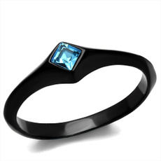Cubic Zirconia, Blues, Stainless Steel, Princess