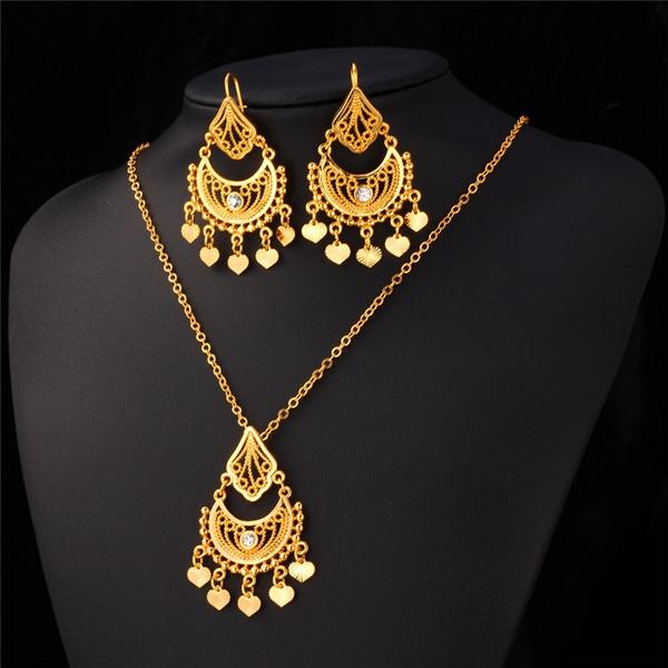 Women, necklacesearring, Jewelry, 18 k