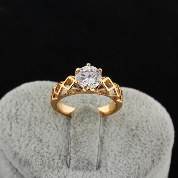 Cubic Zirconia, Wedding, 18k gold, wedding ring