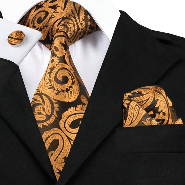 goldnecktie, Men, goldpaisleytie, Necktie