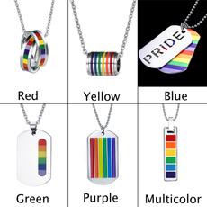 rainbow, Necklace, gaypridependant, unisex