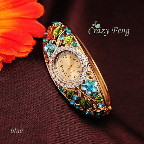 goldplated, Watches, Flowers, quartzflower