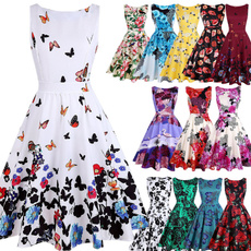 Swing dress, sleeveless, Flowers, Floral print